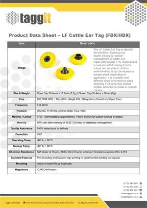 LF Cattle Ear Tag FDX HDX