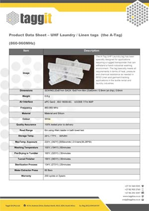 UHF Laundry Linen A Tag